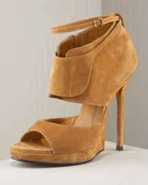 Yves Saint Laurent Half-Wedge Ankle-Wrap Sandal
