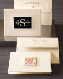 Few papers are as elegant as these satin embroidered cards from Neiman Marcus.