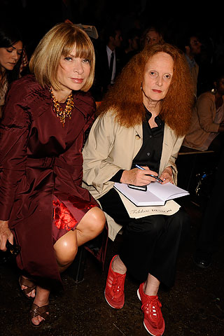 Anna Wintour & Grace Coddington front row at Rag & Bone. Anna in head to toe wine! (See post 'Wine and Dine')
